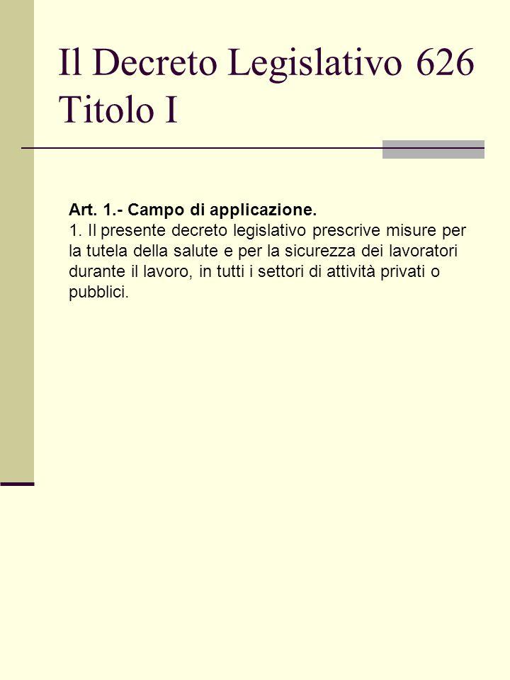 Il Decreto Legislativo 626 Titolo I Art. 1.- Campo di applicazione.