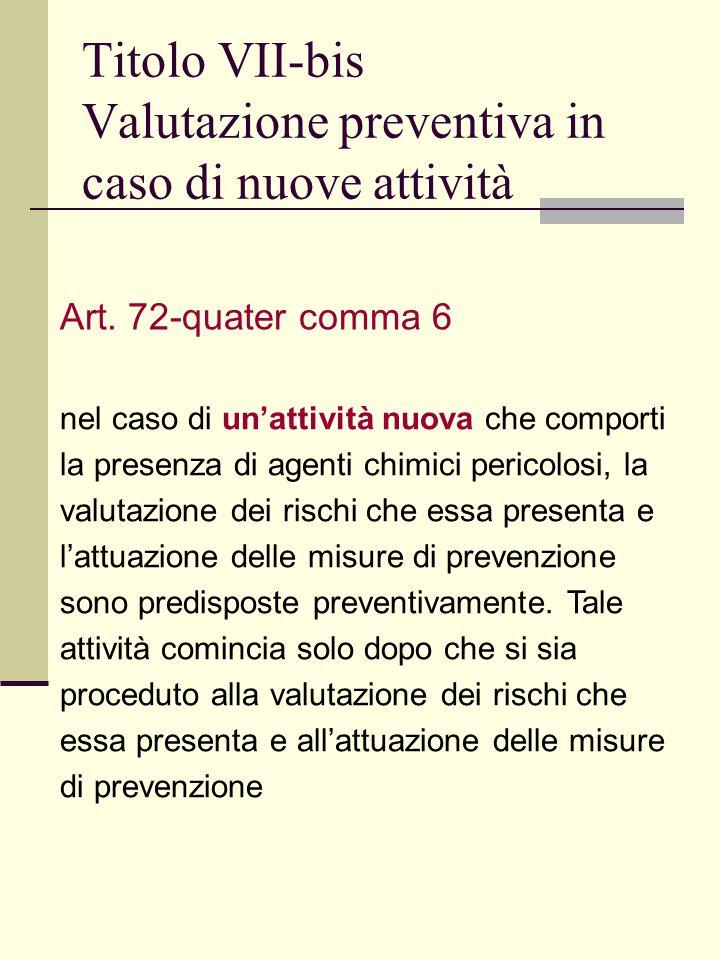 Titolo VII-bis Valutazione preventiva in caso di nuove attività Art.