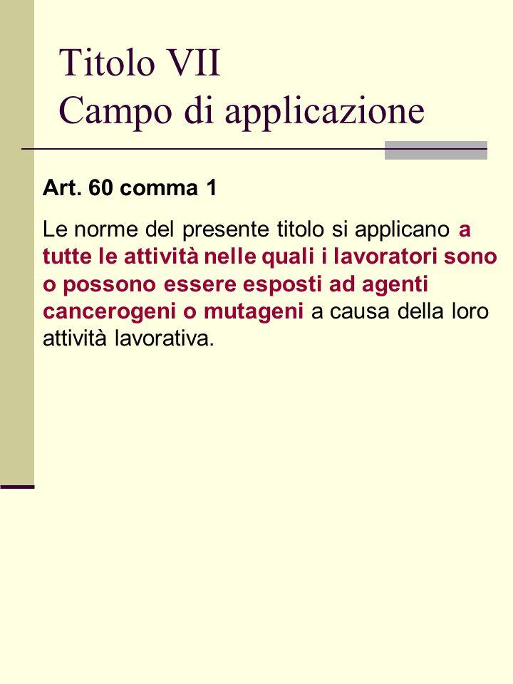 Titolo VII Campo di applicazione Art.