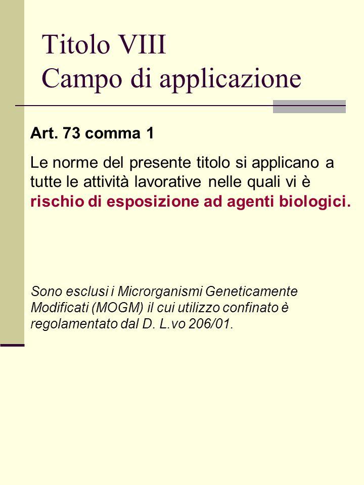 Titolo VIII Campo di applicazione Art.