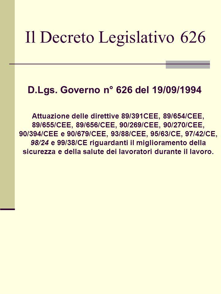 Il Decreto Legislativo 626 Attuazione delle direttive 89/391CEE, 89/654/CEE, 89/655/CEE, 89/656/CEE, 90/269/CEE, 90/270/CEE, 90/394/CEE e 90/679/CEE, 93/88/CEE, 95/63/CE, 97/42/CE, 98/24 e 99/38/CE riguardanti il miglioramento della sicurezza e della salute dei lavoratori durante il lavoro.
