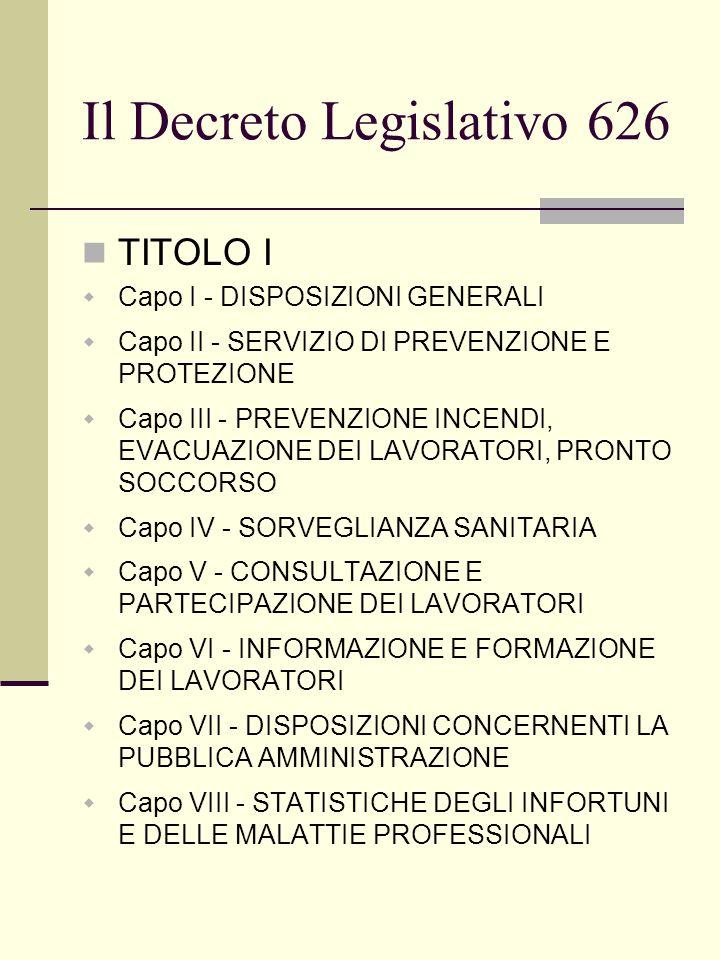 Il Decreto Legislativo 626 TITOLO I  Capo I - DISPOSIZIONI GENERALI  Capo II - SERVIZIO DI PREVENZIONE E PROTEZIONE  Capo III - PREVENZIONE INCENDI, EVACUAZIONE DEI LAVORATORI, PRONTO SOCCORSO  Capo IV - SORVEGLIANZA SANITARIA  Capo V - CONSULTAZIONE E PARTECIPAZIONE DEI LAVORATORI  Capo VI - INFORMAZIONE E FORMAZIONE DEI LAVORATORI  Capo VII - DISPOSIZIONI CONCERNENTI LA PUBBLICA AMMINISTRAZIONE  Capo VIII - STATISTICHE DEGLI INFORTUNI E DELLE MALATTIE PROFESSIONALI