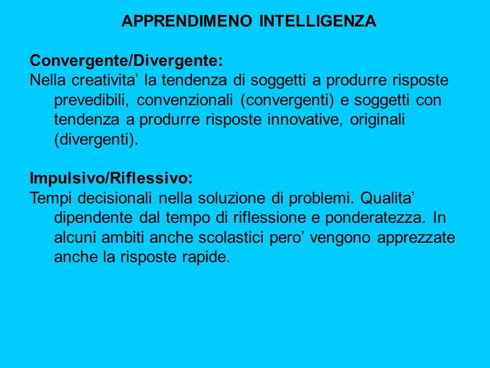 APPRENDIMENO INTELLIGENZA Convergente/Divergente: Nella creativita' la tendenza di soggetti a produrre risposte prevedibili, convenzionali (convergenti) e soggetti con tendenza a produrre risposte innovative, originali (divergenti).