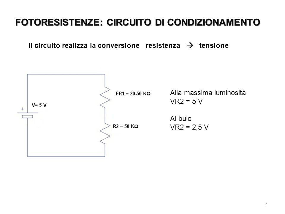 FOTORESISTENZE: CIRCUITO DI CONDIZIONAMENTO 4 Il circuito realizza la conversione resistenza  tensione Alla massima luminosità VR2 = 5 V Al buio VR2