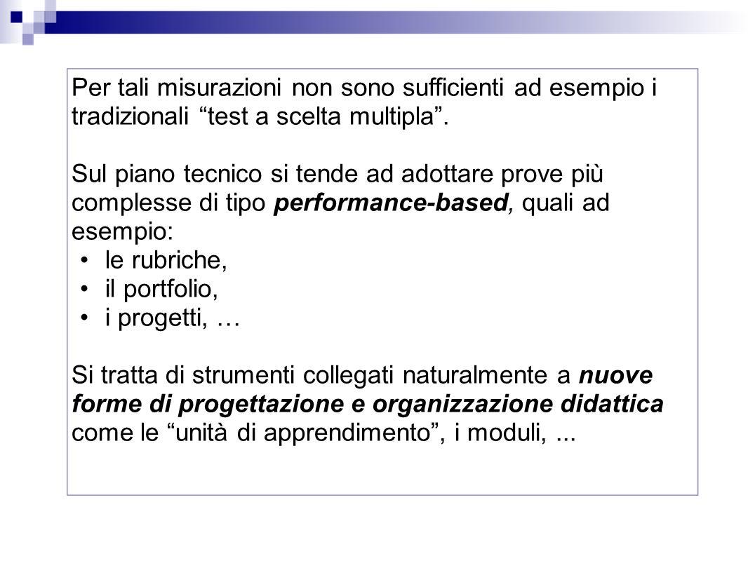 Per tali misurazioni non sono sufficienti ad esempio i tradizionali test a scelta multipla .