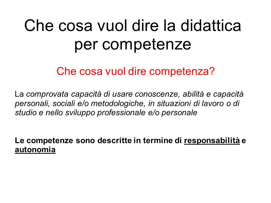 Che cosa vuol dire la didattica per competenze Che cosa vuol dire competenza.