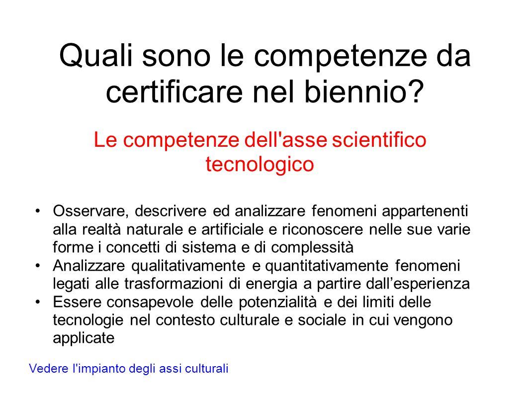 Quali sono le competenze da certificare nel biennio.