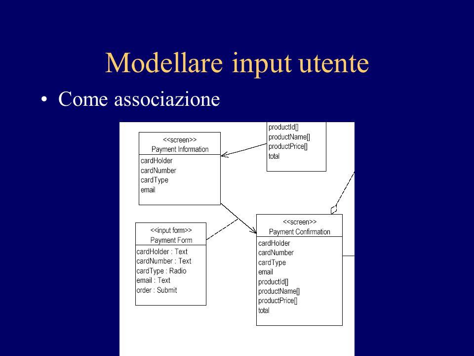 Modellare input utente Come associazione