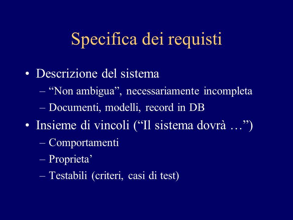 Specifica dei requisti Descrizione del sistema – Non ambigua , necessariamente incompleta –Documenti, modelli, record in DB Insieme di vincoli ( Il sistema dovrà … ) –Comportamenti –Proprieta' –Testabili (criteri, casi di test)