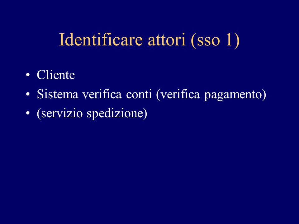 Identificare attori (sso 1) Cliente Sistema verifica conti (verifica pagamento) (servizio spedizione)