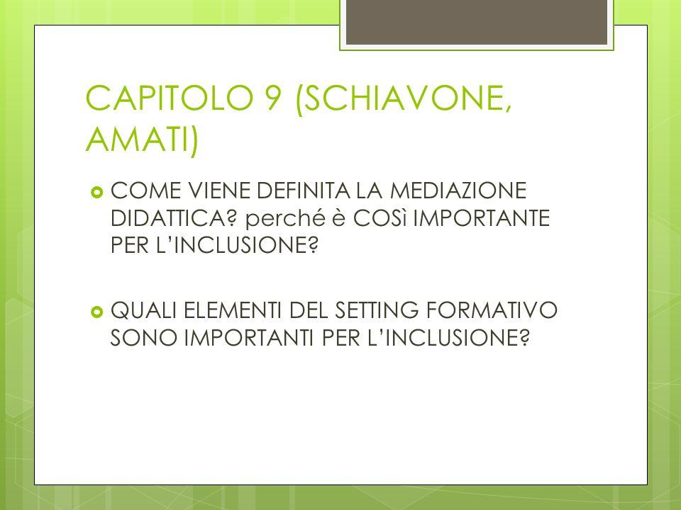CAPITOLO 9 (SCHIAVONE, AMATI)  COME VIENE DEFINITA LA MEDIAZIONE DIDATTICA? perché è COSì IMPORTANTE PER L'INCLUSIONE?  QUALI ELEMENTI DEL SETTING F