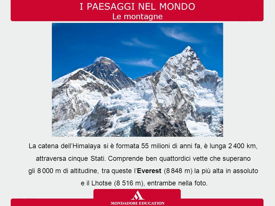 I PAESAGGI NEL MONDO Le montagne La catena dell'Himalaya si è formata 55 milioni di anni fa, è lunga 2. 400 km, attraversa cinque Stati. Comprende ben