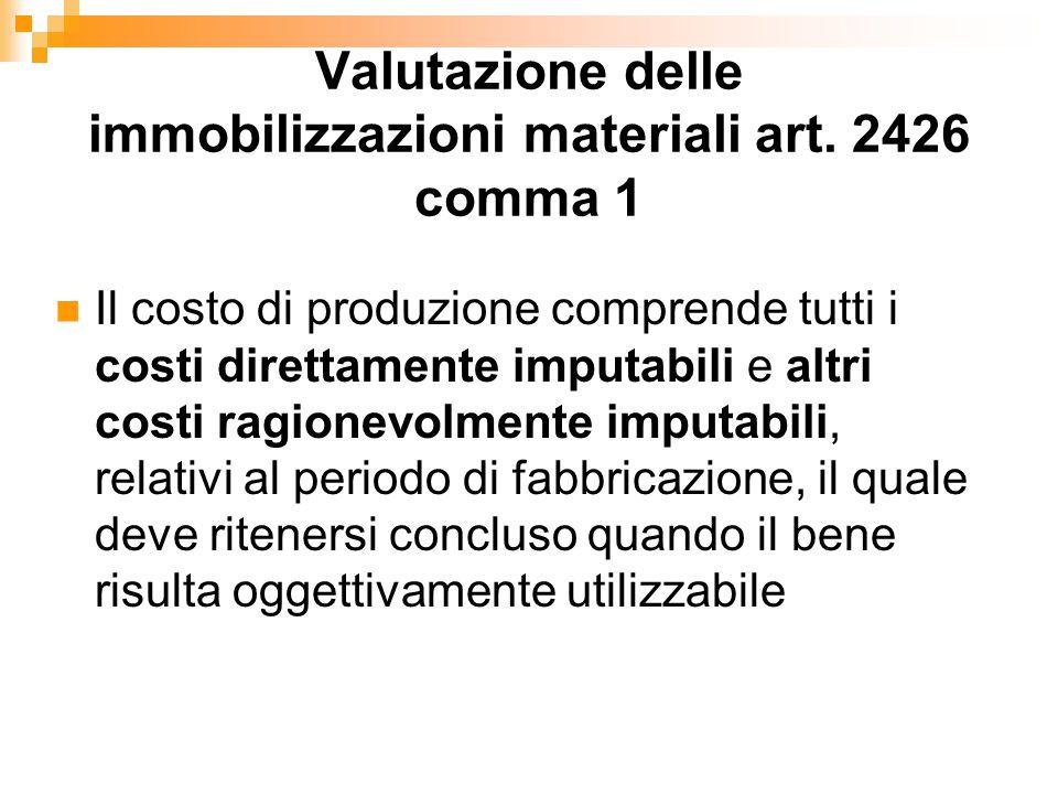 Valutazione delle immobilizzazioni materiali art. 2426 comma 1 Il costo di produzione comprende tutti i costi direttamente imputabili e altri costi ra