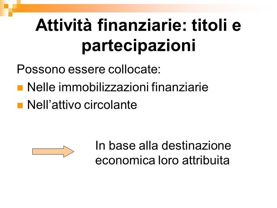 Attività finanziarie: titoli e partecipazioni Possono essere collocate: Nelle immobilizzazioni finanziarie Nell'attivo circolante In base alla destina