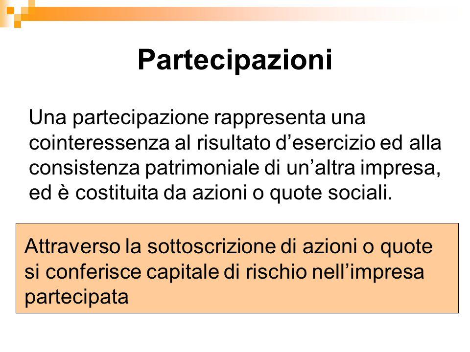 Partecipazioni Una partecipazione rappresenta una cointeressenza al risultato d'esercizio ed alla consistenza patrimoniale di un'altra impresa, ed è c