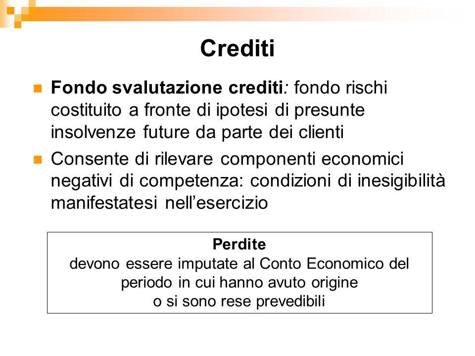 Fondo svalutazione crediti: fondo rischi costituito a fronte di ipotesi di presunte insolvenze future da parte dei clienti Consente di rilevare compon