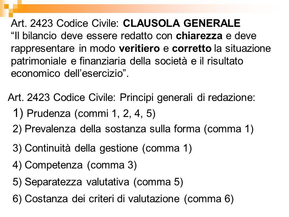 """Art. 2423 Codice Civile: CLAUSOLA GENERALE """"Il bilancio deve essere redatto con chiarezza e deve rappresentare in modo veritiero e corretto la situazi"""