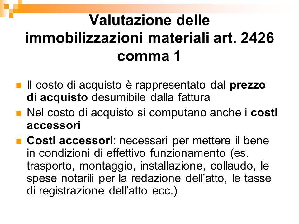 Valutazione delle immobilizzazioni materiali art.