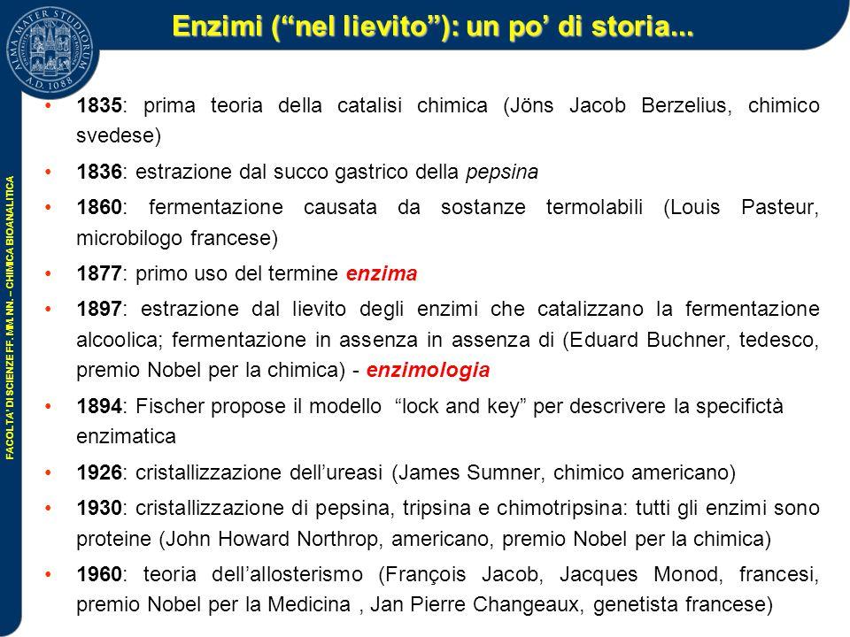 FACOLTA' DI SCIENZE FF.MM. NN. – CHIMICA BIOANALITICA Enzimi ( nel lievito ): un po' di storia...
