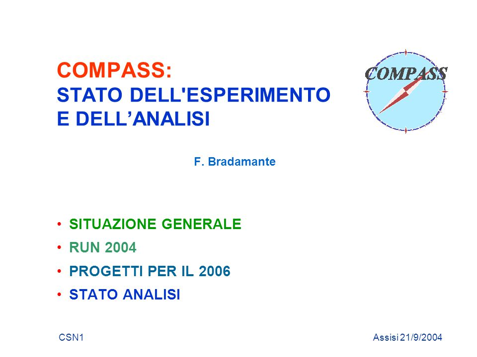 CSN1 21/9/2004F. Bradamante RUN 2004 - run adronico SCHEDULA SPS