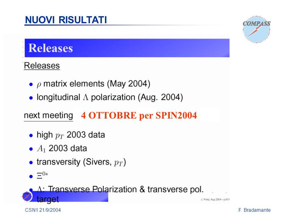 CSN1 21/9/2004F. Bradamante 4 OTTOBRE per SPIN2004 NUOVI RISULTATI