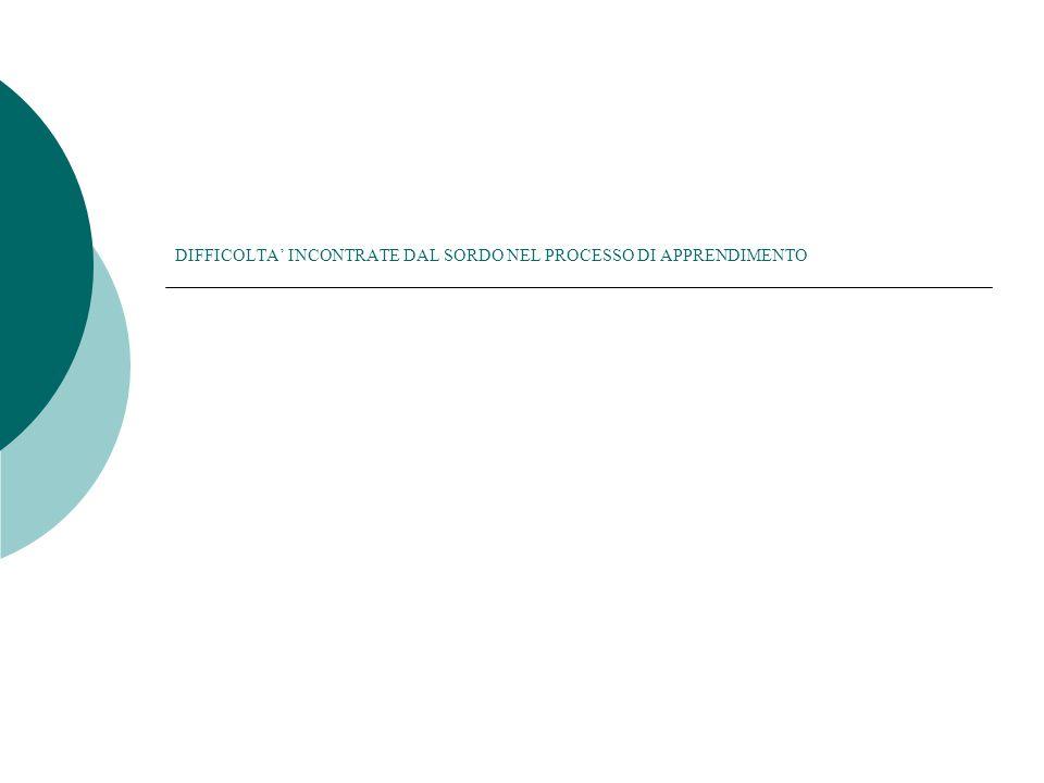 DIFFICOLTA' INCONTRATE DAL SORDO NEL PROCESSO DI APPRENDIMENTO