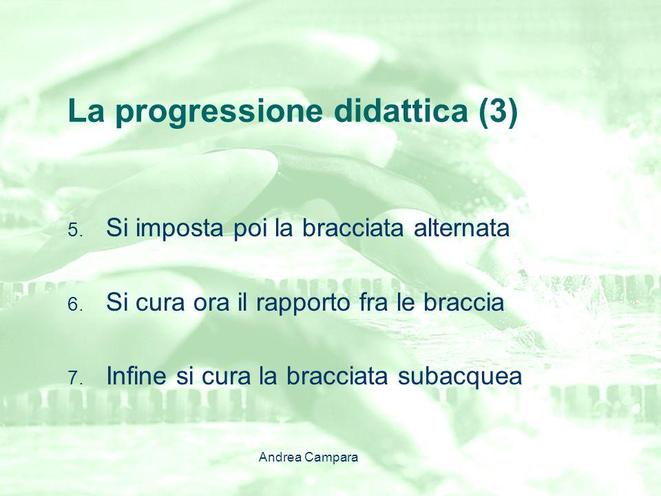 La progressione didattica (3) 5. Si imposta poi la bracciata alternata 6. Si cura ora il rapporto fra le braccia 7. Infine si cura la bracciata subacq