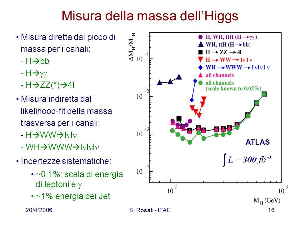 20/4/2006S. Rosati - IFAE16 Misura della massa dell'Higgs Misura diretta dal picco di massa per i canali: - H  bb - H   - H  ZZ(*)  4l Misura in