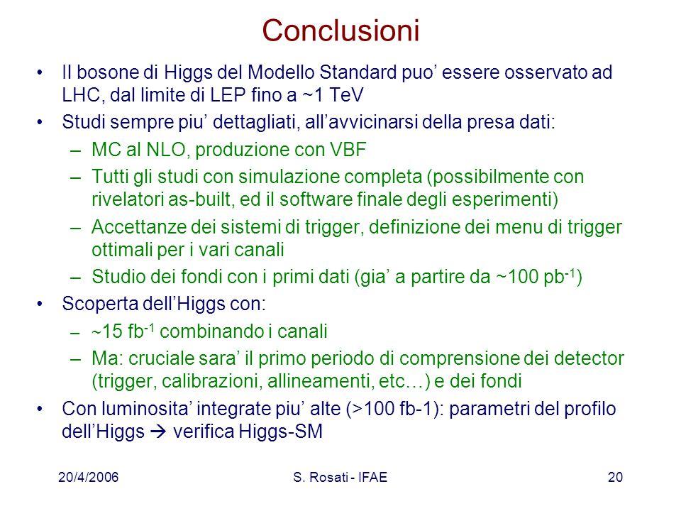 20/4/2006S. Rosati - IFAE20 Conclusioni Il bosone di Higgs del Modello Standard puo' essere osservato ad LHC, dal limite di LEP fino a ~1 TeV Studi se