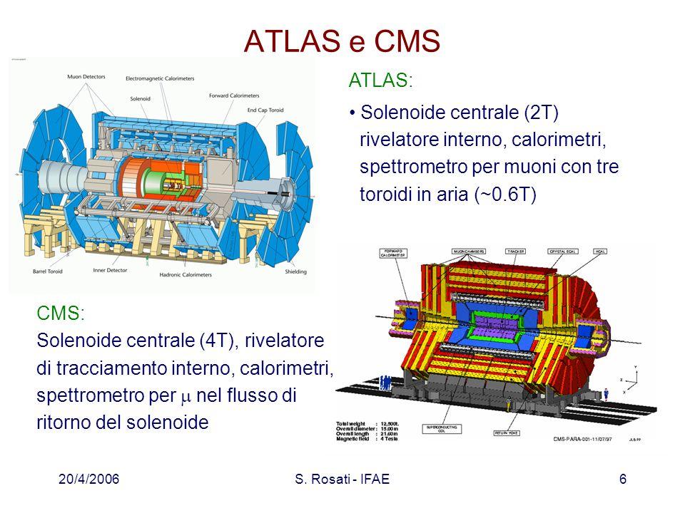 20/4/2006S. Rosati - IFAE6 ATLAS e CMS ATLAS: Solenoide centrale (2T) rivelatore interno, calorimetri, spettrometro per muoni con tre toroidi in aria