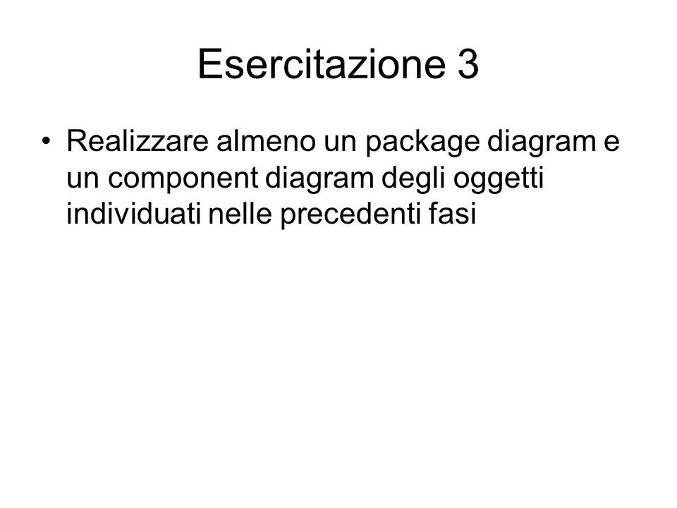 Esercitazione 3 Realizzare almeno un package diagram e un component diagram degli oggetti individuati nelle precedenti fasi