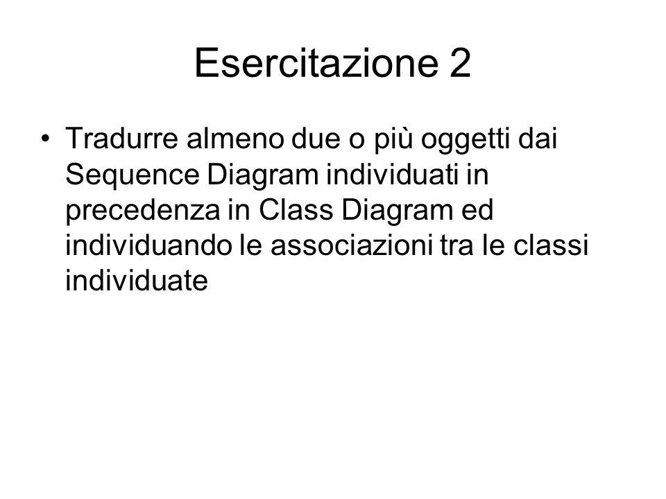 Esercitazione 2 Tradurre almeno due o più oggetti dai Sequence Diagram individuati in precedenza in Class Diagram ed individuando le associazioni tra