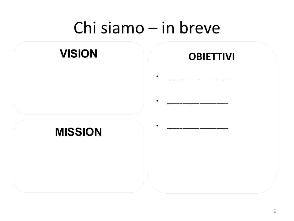 Chi siamo – in breve OBIETTIVI _____________________ 2 VISION MISSION