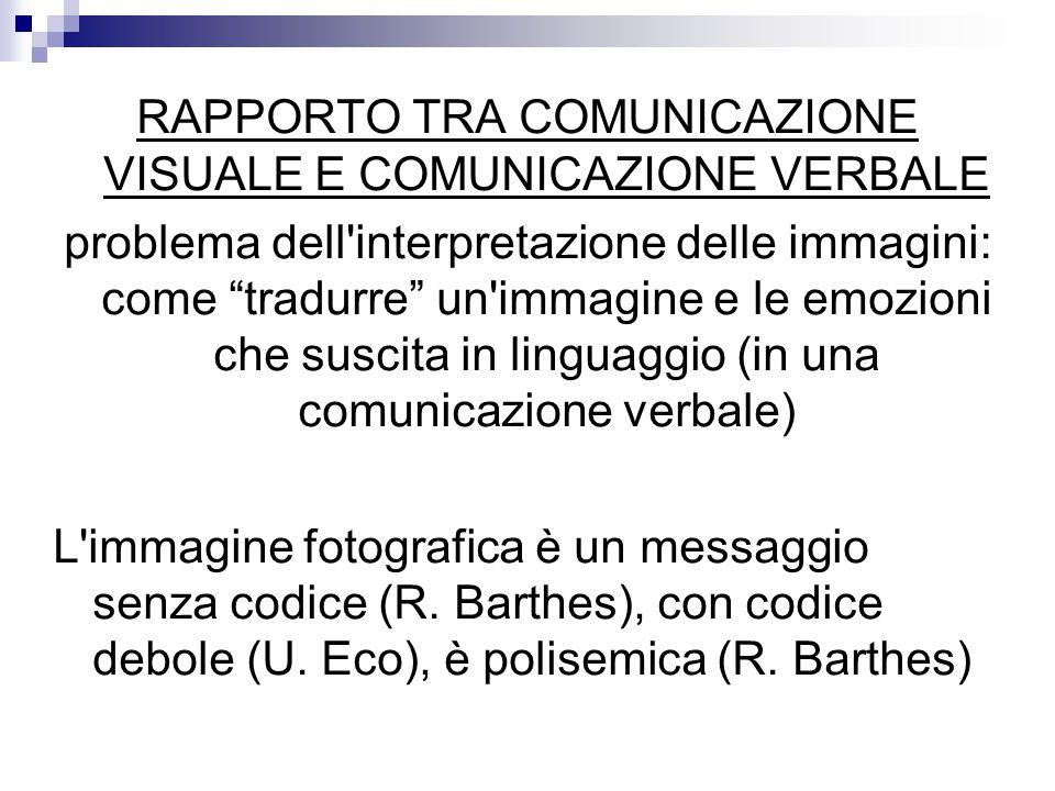 RAPPORTO TRA COMUNICAZIONE VISUALE E COMUNICAZIONE VERBALE problema dell interpretazione delle immagini: come tradurre un immagine e le emozioni che suscita in linguaggio (in una comunicazione verbale) L immagine fotografica è un messaggio senza codice (R.