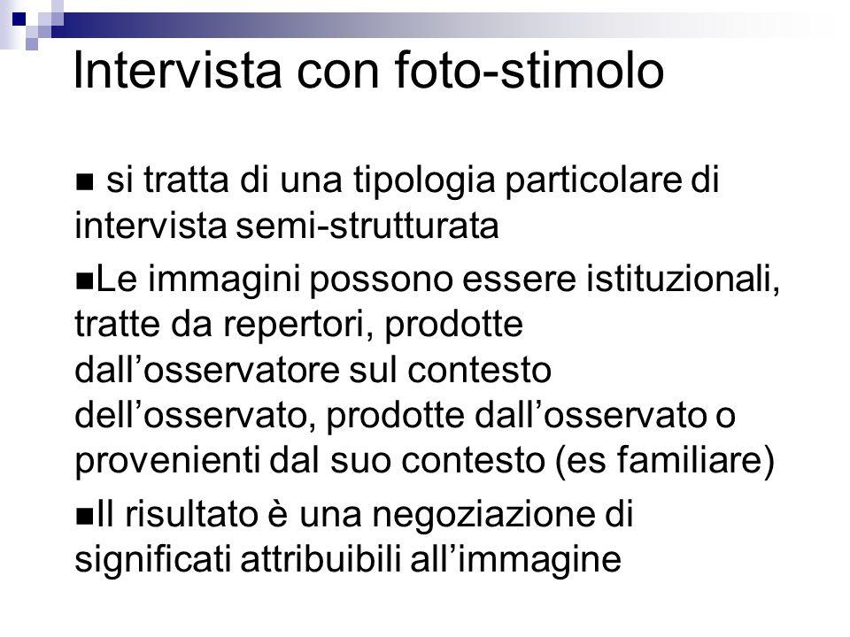 Intervista con foto-stimolo si tratta di una tipologia particolare di intervista semi-strutturata Le immagini possono essere istituzionali, tratte da repertori, prodotte dall'osservatore sul contesto dell'osservato, prodotte dall'osservato o provenienti dal suo contesto (es familiare) Il risultato è una negoziazione di significati attribuibili all'immagine