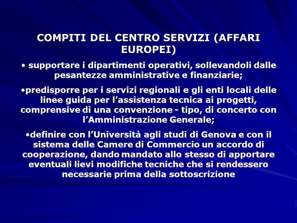 COMPITI DEL CENTRO SERVIZI (AFFARI EUROPEI) supportare i dipartimenti operativi, sollevandoli dalle pesantezze amministrative e finanziarie; predisporre per i servizi regionali e gli enti locali delle linee guida per l'assistenza tecnica ai progetti, comprensive di una convenzione - tipo, di concerto con l'Amministrazione Generale; definire con l'Università agli studi di Genova e con il sistema delle Camere di Commercio un accordo di cooperazione, dando mandato allo stesso di apportare eventuali lievi modifiche tecniche che si rendessero necessarie prima della sottoscrizione