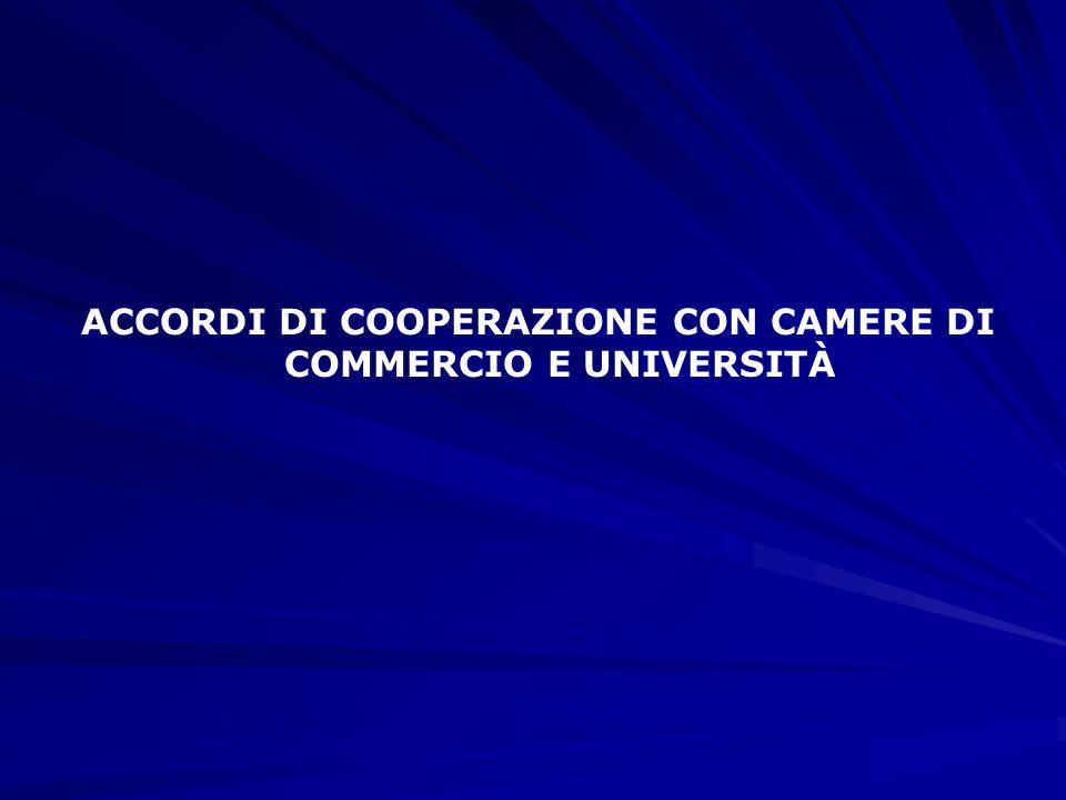 ACCORDI DI COOPERAZIONE CON CAMERE DI COMMERCIO E UNIVERSITÀ