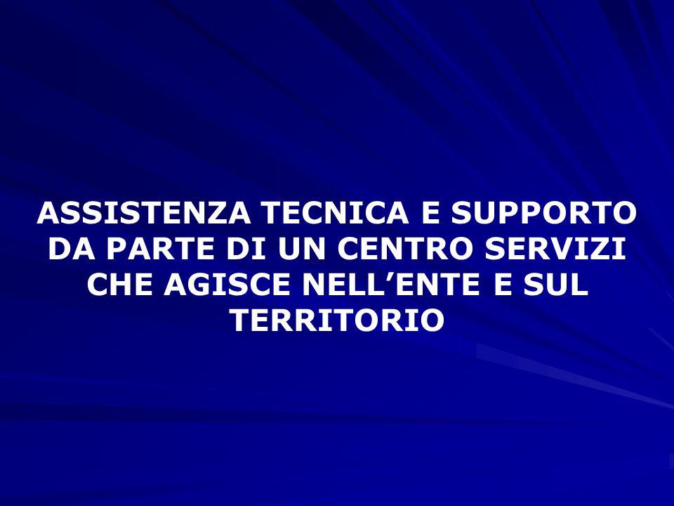 ASSISTENZA TECNICA E SUPPORTO DA PARTE DI UN CENTRO SERVIZI CHE AGISCE NELL'ENTE E SUL TERRITORIO