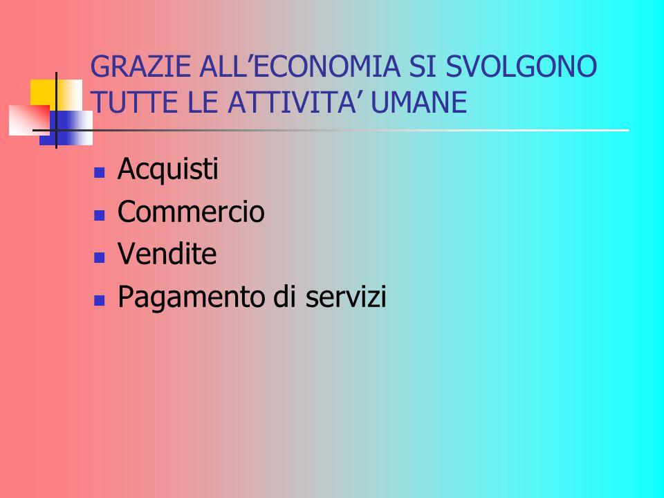 GRAZIE ALL'ECONOMIA SI SVOLGONO TUTTE LE ATTIVITA' UMANE Acquisti Commercio Vendite Pagamento di servizi