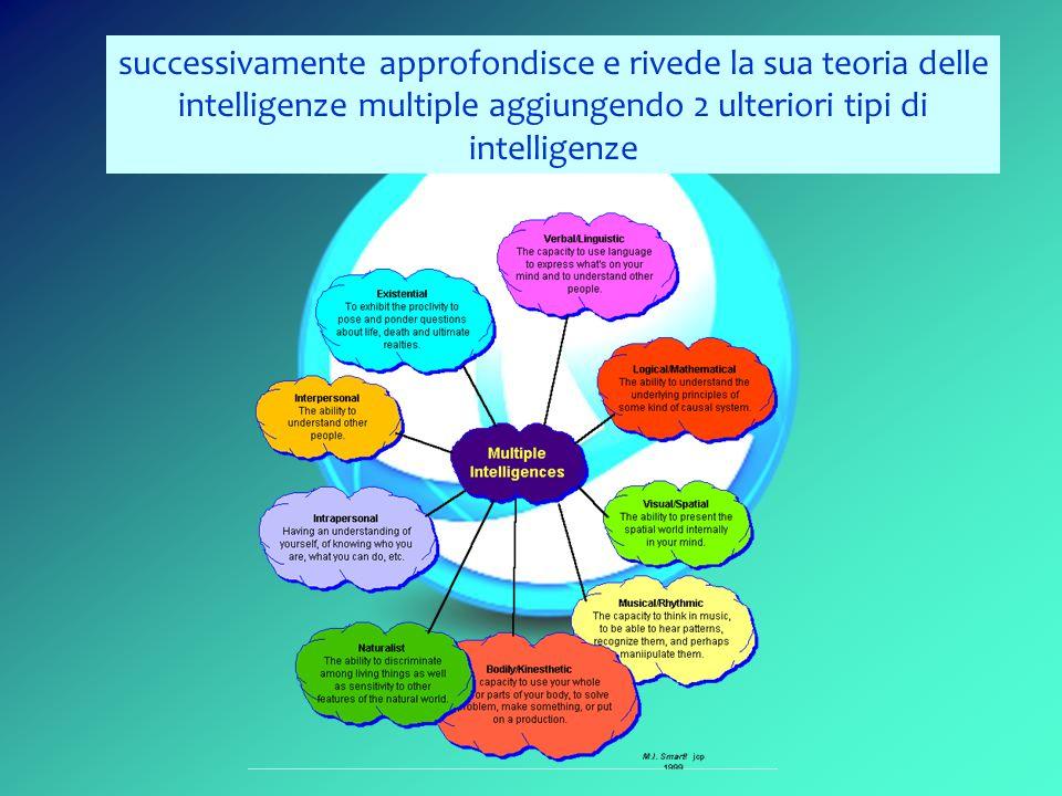 successivamente approfondisce e rivede la sua teoria delle intelligenze multiple aggiungendo 2 ulteriori tipi di intelligenze