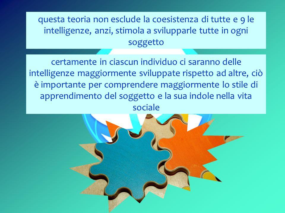 questa teoria non esclude la coesistenza di tutte e 9 le intelligenze, anzi, stimola a svilupparle tutte in ogni soggetto certamente in ciascun individuo ci saranno delle intelligenze maggiormente sviluppate rispetto ad altre, ciò è importante per comprendere maggiormente lo stile di apprendimento del soggetto e la sua indole nella vita sociale