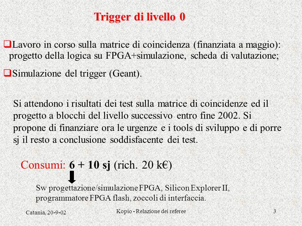 Catania, 20-9-02 Kopio - Relazione dei referee3 Trigger di livello 0  Lavoro in corso sulla matrice di coincidenza (finanziata a maggio): progetto della logica su FPGA+simulazione, scheda di valutazione;  Simulazione del trigger (Geant).