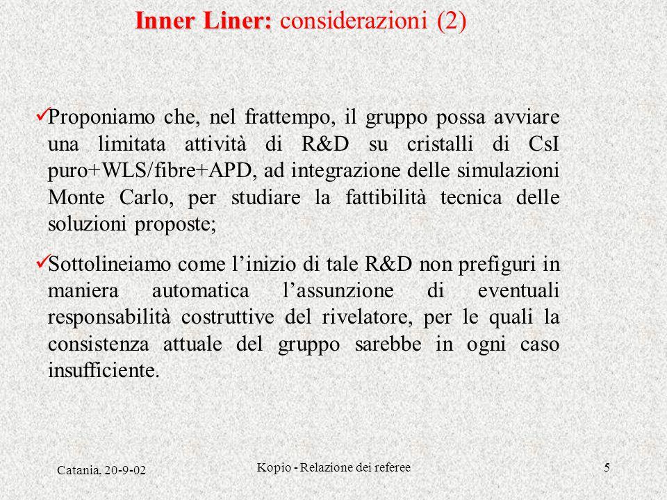 Catania, 20-9-02 Kopio - Relazione dei referee5 Proponiamo che, nel frattempo, il gruppo possa avviare una limitata attività di R&D su cristalli di Cs