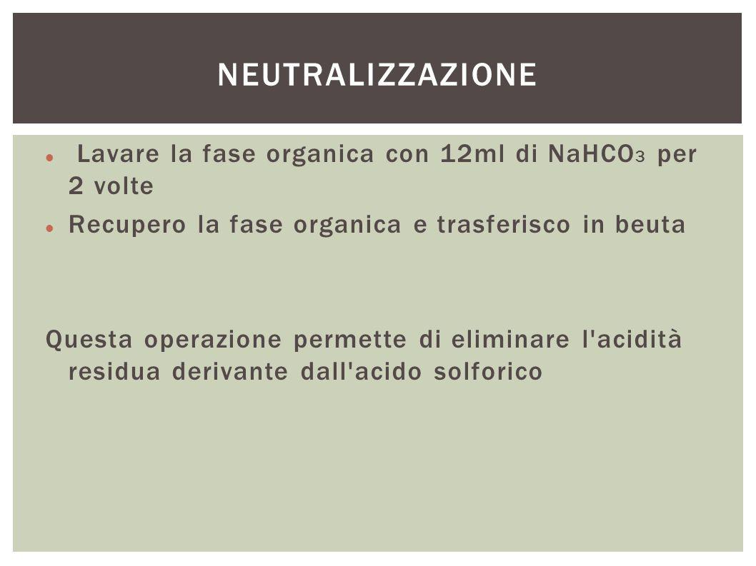 Lavare la fase organica con 12ml di NaHCO 3 per 2 volte Recupero la fase organica e trasferisco in beuta Questa operazione permette di eliminare l'aci