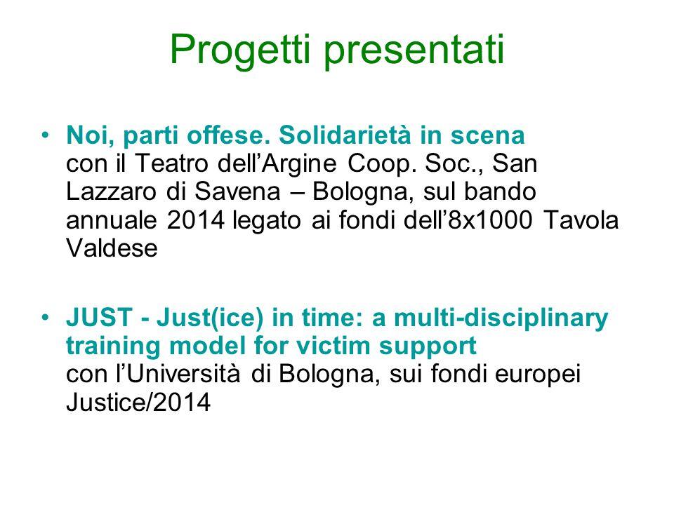 Progetti presentati Noi, parti offese. Solidarietà in scena con il Teatro dell'Argine Coop. Soc., San Lazzaro di Savena – Bologna, sul bando annuale 2