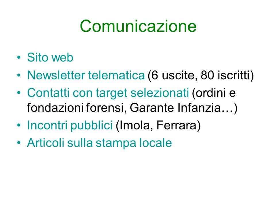 Comunicazione Sito web Newsletter telematica (6 uscite, 80 iscritti) Contatti con target selezionati (ordini e fondazioni forensi, Garante Infanzia…)