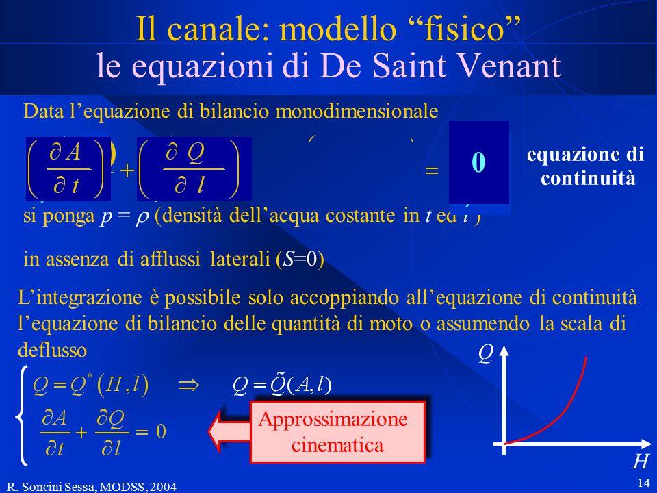 """R. Soncini Sessa, MODSS, 2004 14 Il canale: modello """"fisico"""" le equazioni di De Saint Venant Data l'equazione di bilancio monodimensionale in assenza"""