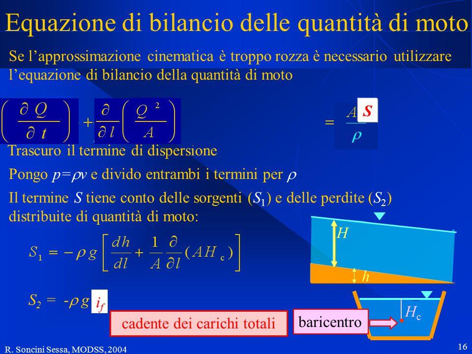 R. Soncini Sessa, MODSS, 2004 16 Se l'approssimazione cinematica è troppo rozza è necessario utilizzare l'equazione di bilancio della quantità di moto