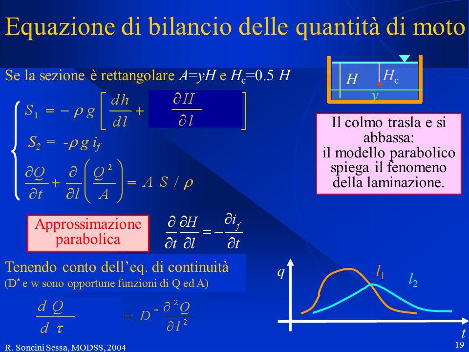 R. Soncini Sessa, MODSS, 2004 19 Equazione di bilancio delle quantità di moto Se la sezione è rettangolare A=yH e H c =0.5 H S 2 = -  g i f Tenendo