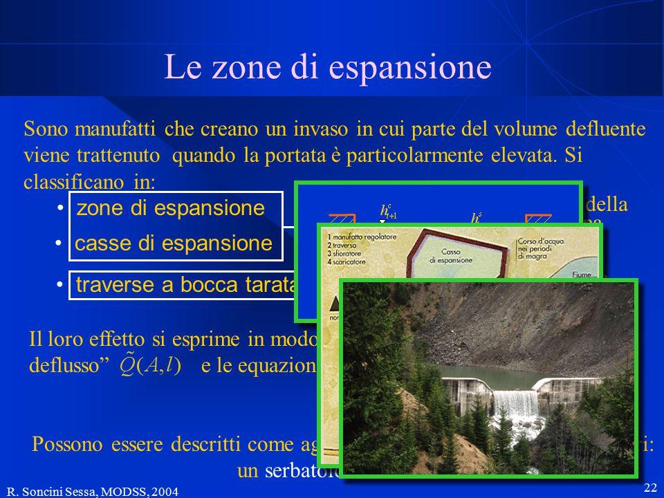 R. Soncini Sessa, MODSS, 2004 22 Le zone di espansione Sono manufatti che creano un invaso in cui parte del volume defluente viene trattenuto quando l